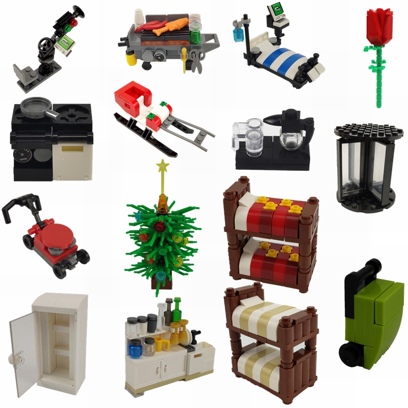 MOC 2019 City Building Blocks Refrigerator Rose Luggage Bed Grill Rotating Door Children Toy & Hobbies City MOC Children