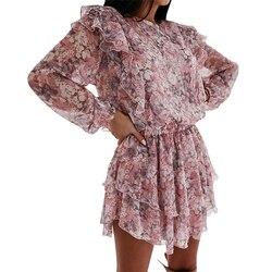 Женское платье с цветочным принтом BerryGo, элегантное шифоновое платье трапециевидной формы с пышными рукавами и поясом с высокой талией, офи...