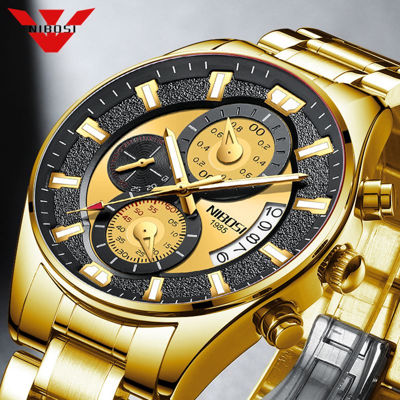 NIBOSI 2020 Fashion Mens Watches Top Brand Luxury Gold Clock Sports Chronograph Waterproof Quartz Watch Men Relogio Masculino