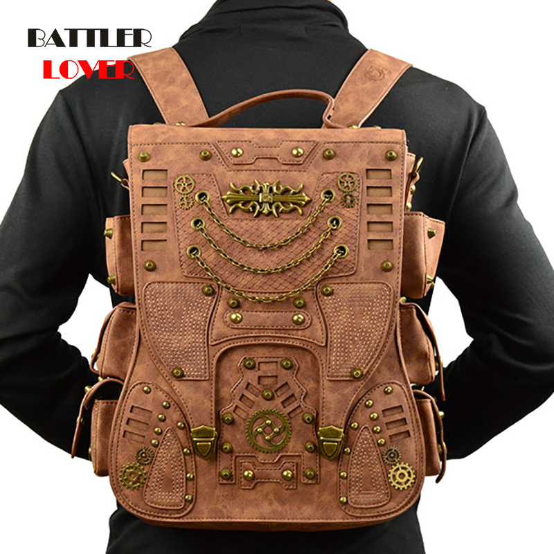 Steampunk Backpack for Women Men Gothic Bags High Quality PU Leather 2019 New Fashion Punk Vintage Retro Rock Bags Motorcycle