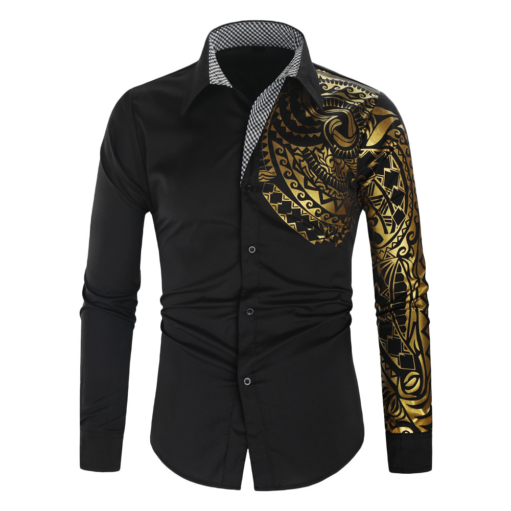 Black Shirt Chemise Club Slim-Fit Long-Sleeve Social Gold Luxury Homme New Camisa Masculina title=
