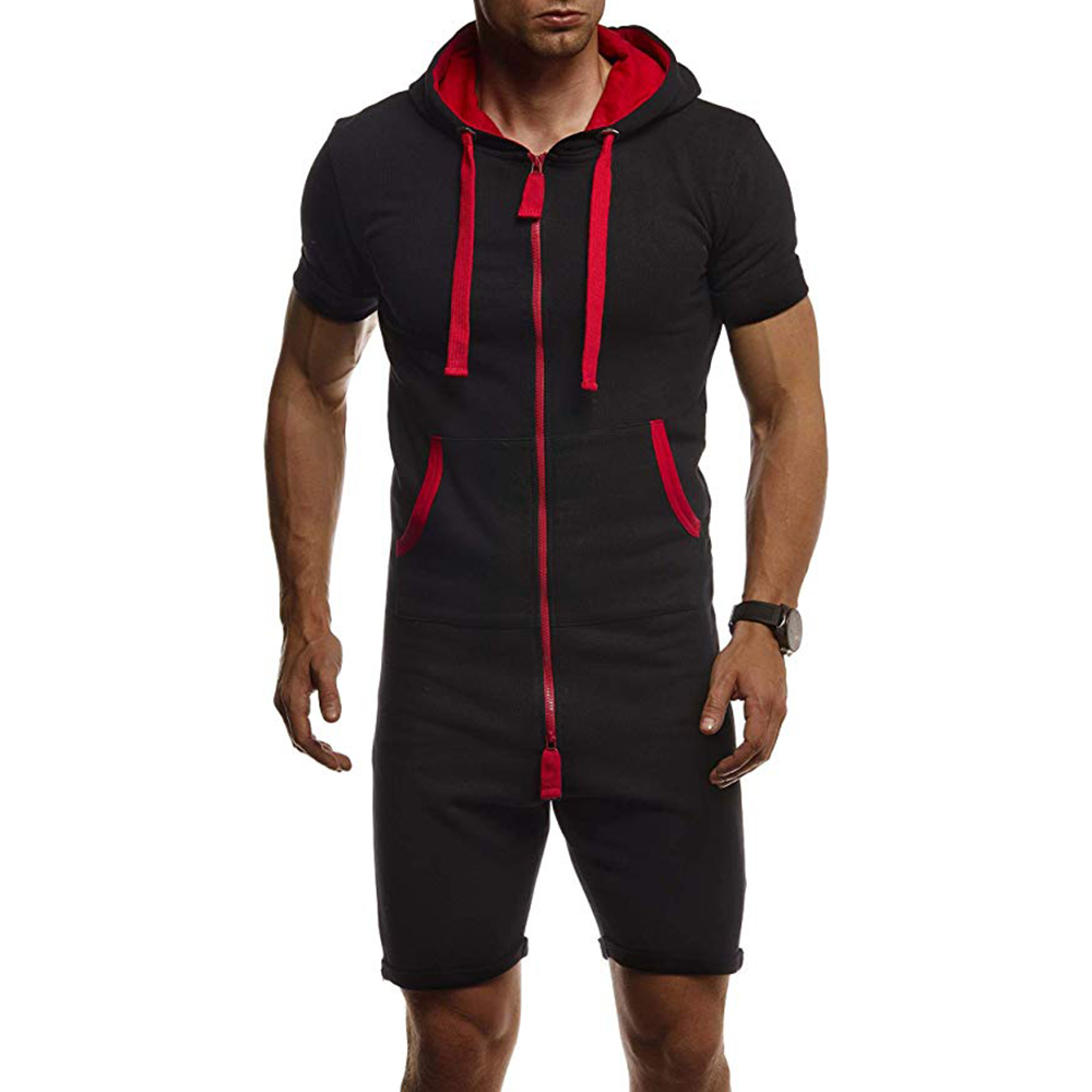 JODIMITTY Tracksuit-Sets Jumpsuit Short Sportwear Mens Summer Zipper Solid Overalls One-Piece title=