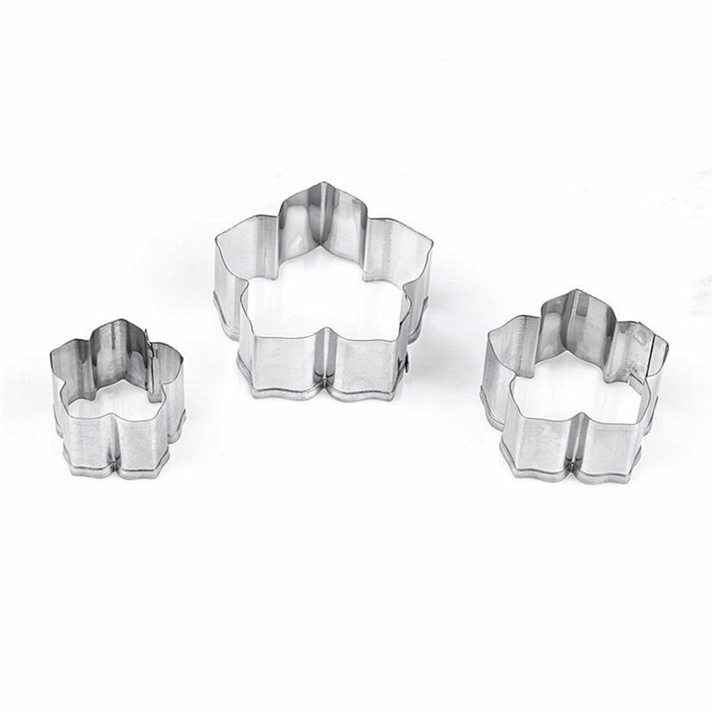Cookie Cutter Set Flower Shapes Floral Hippy Cake Decorating Biscuits 3 Pcs