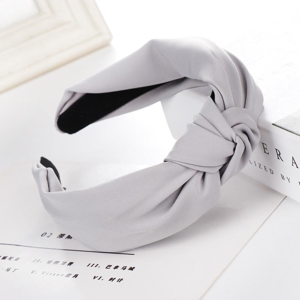 Women Elegant 1PC Hot Sale Bow Knot Hairbands Hair Holder Girls Cloth Cross Solid Headband Gifts Hair Hoop Hair Accessories 903