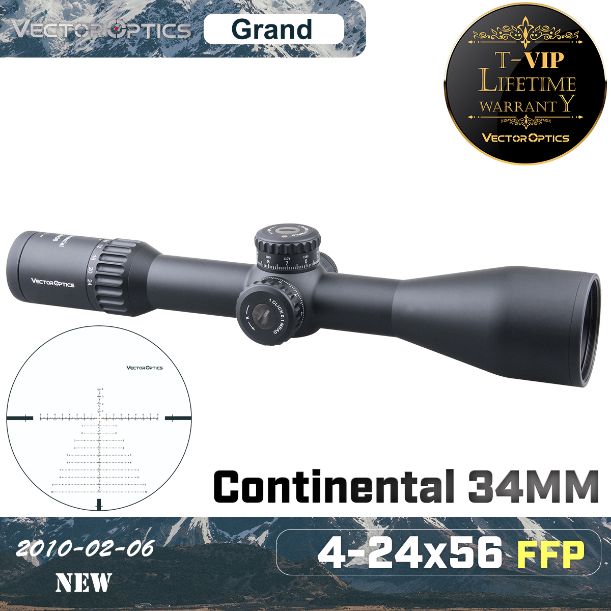 Vector Optics Continental 4-24x56 HD 34mm FFP Hunting Riflescope Tactical Rifle Scope 1/10MIL Long Range Precise Shooting .338