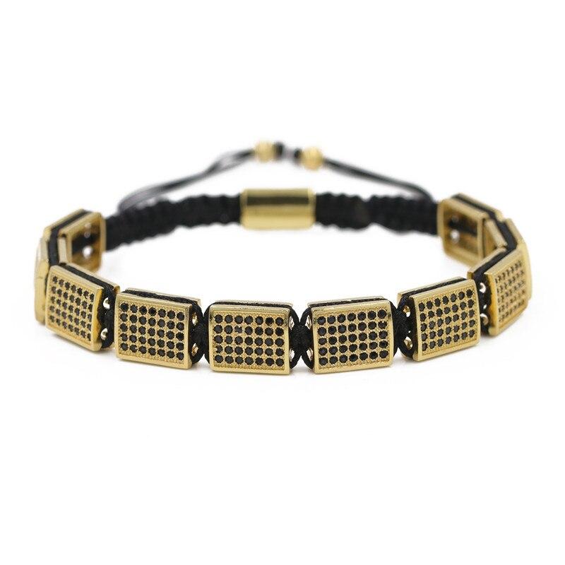 Beaded Bracelet Square zircon Stone Hexagon Druzy Stretch Beaded Stackable Bracelets Bangles