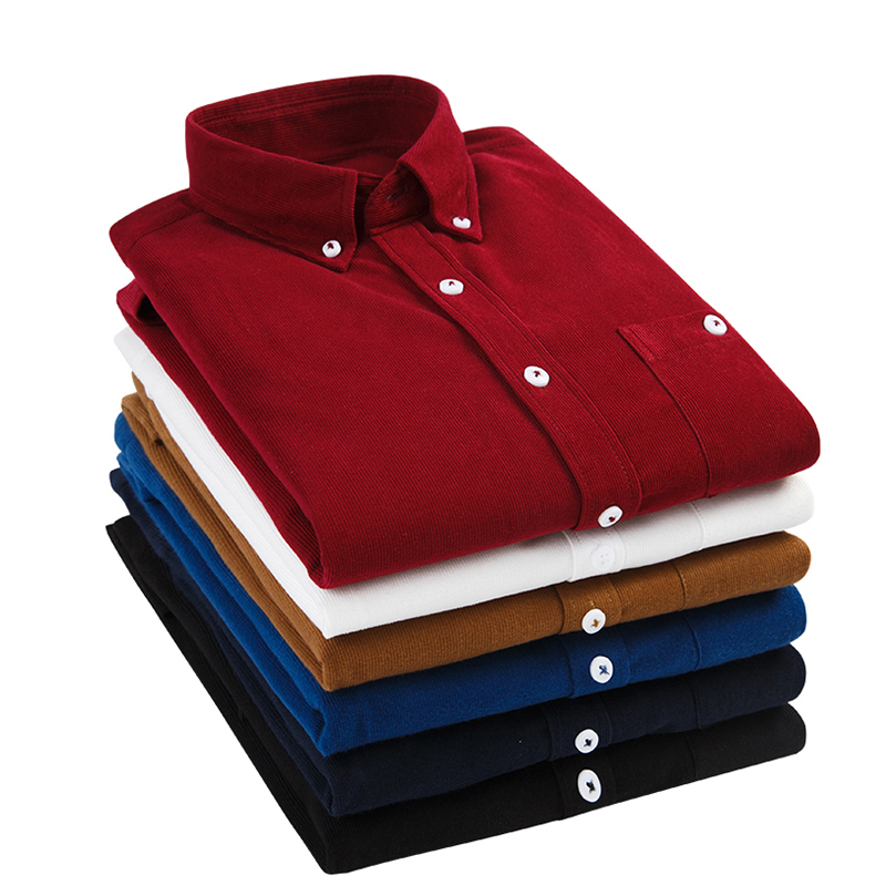 New Soft Shirts Men Clothing Long Sleeves Corduroy Dress Shirt Autumn Brand Casual Men
