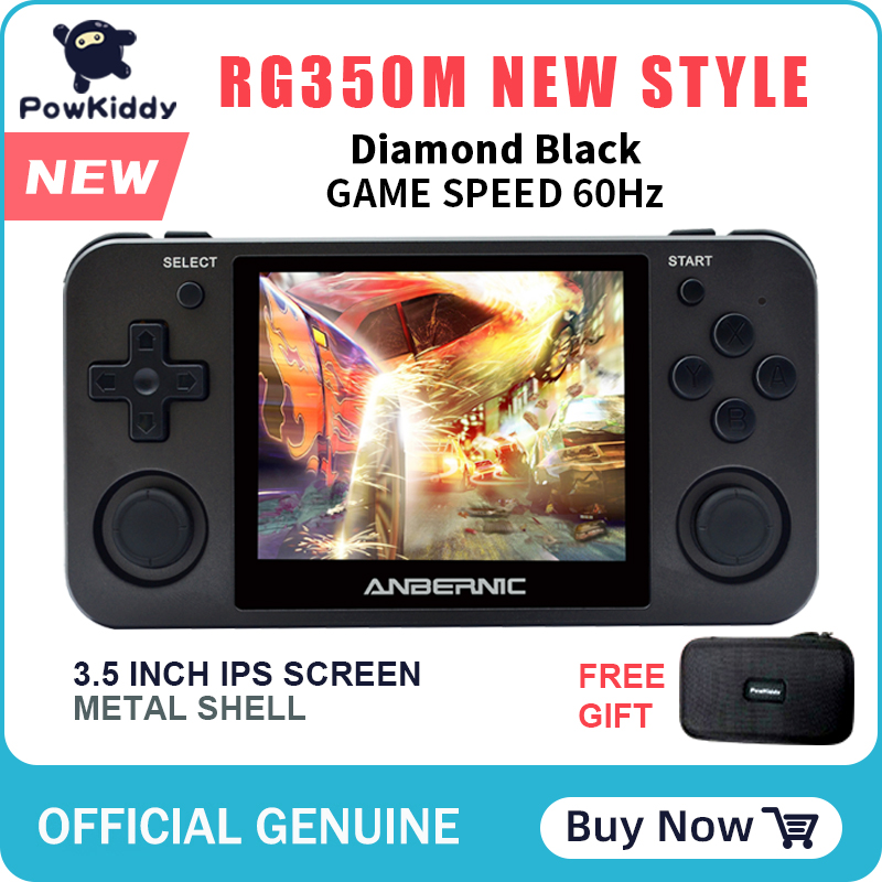 Powkiddy RG350M black handheld game console 3D games metal shell console open source system 3.5 inch IPS screen retro ps1 arcade