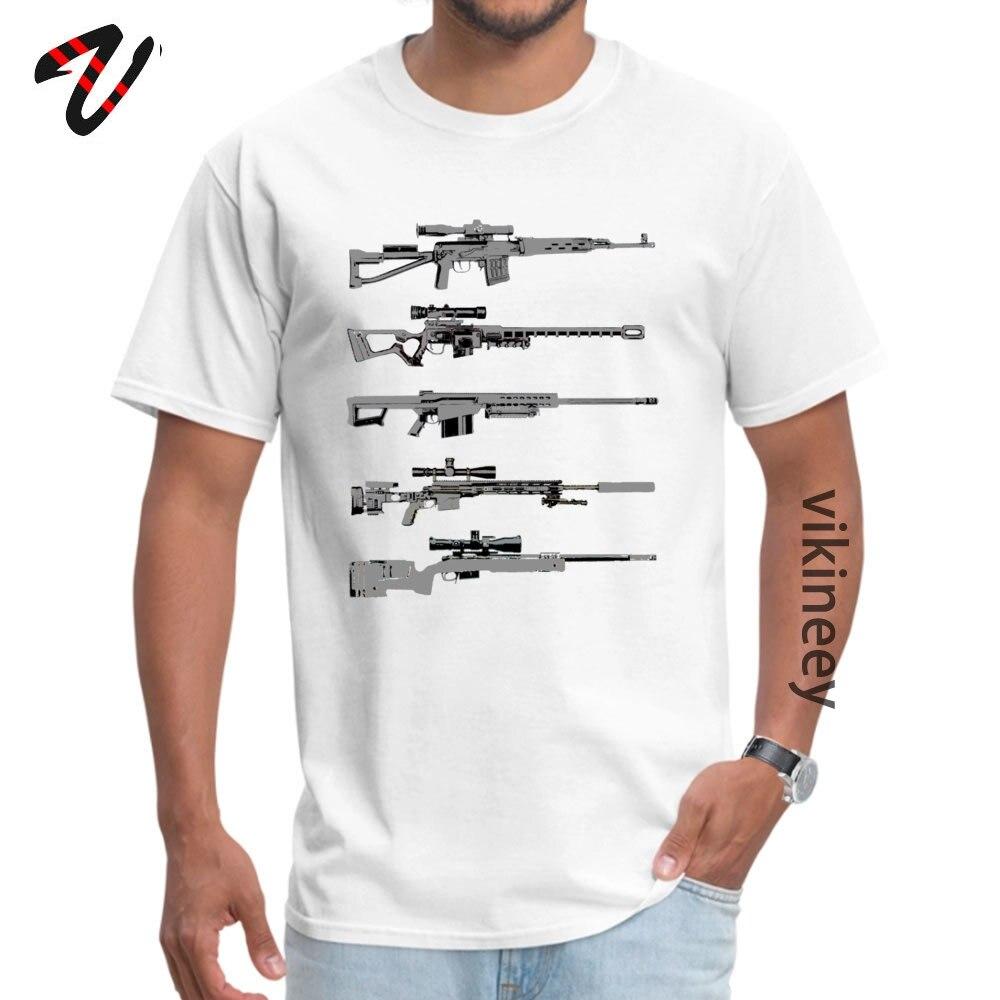 100% Cotton Men Short Sleeve Sniper Rifles Tshirts Design Tops Shirt Retro Design O Neck T-shirts Wholesale Sniper Rifles 12799 white