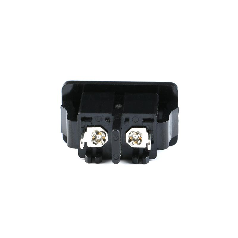 5Pcs AC250V 2.5A IEC320 C8 Male 2 Pins Black Power Inlet Socket Panel Embedded (3)
