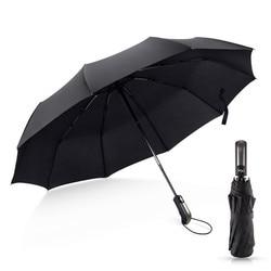 Dropshipping Folding Automatic Umbrella Rain Women Male Auto Luxury Big Windproof Umbrellas For Men Rain Black Blue 10K
