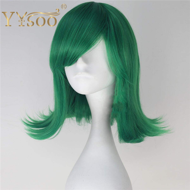 YYsoo Inside Out Disgust Cosplay Wigs Short Wavy Green Wig Party Halloween Cosplay Costume Full Machine Synthetic Wig With Bangs