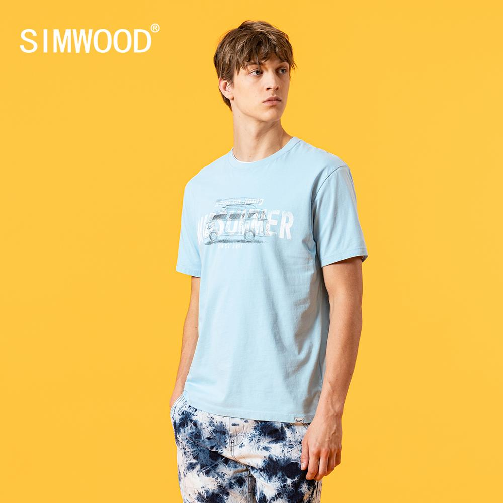 SIMWOOD 2020 summer new t-shirt men fashion bus letter print tees 100% cotton breathable tops high quality tshirt SJ120540