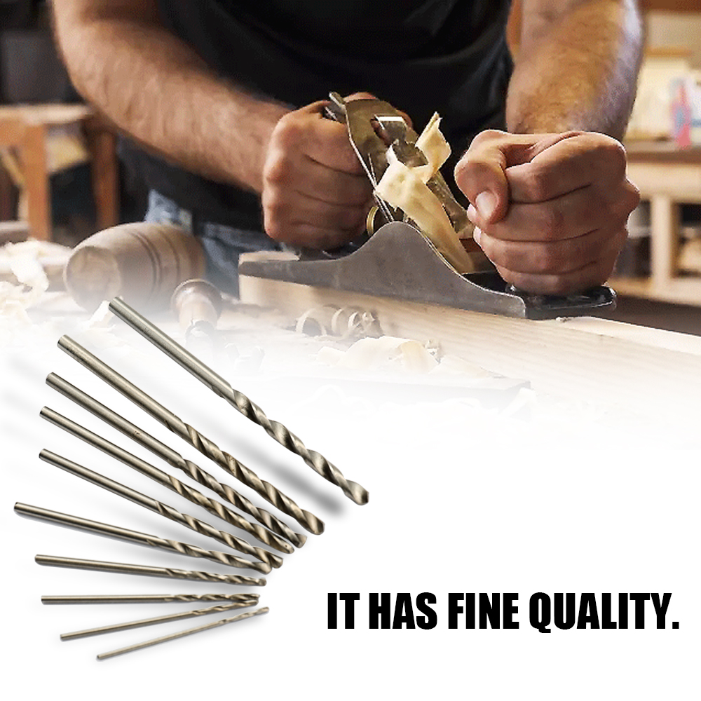 10PCS Straight Shank Drill Bits Set Professional High Speed Steel Twisted Drill Bit Woodworking Hand Tool 0.3in