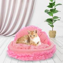 Cute Bowknot Cotton Pet Nest Sleep Comfortable Bed for Small Dog Cat Pink Pet Blanket Sleeping Bed Cover Mat(China)