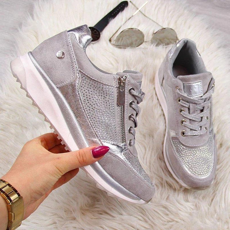 Apparel - Zipper Lace Up Comfortable Ladies Sneakers