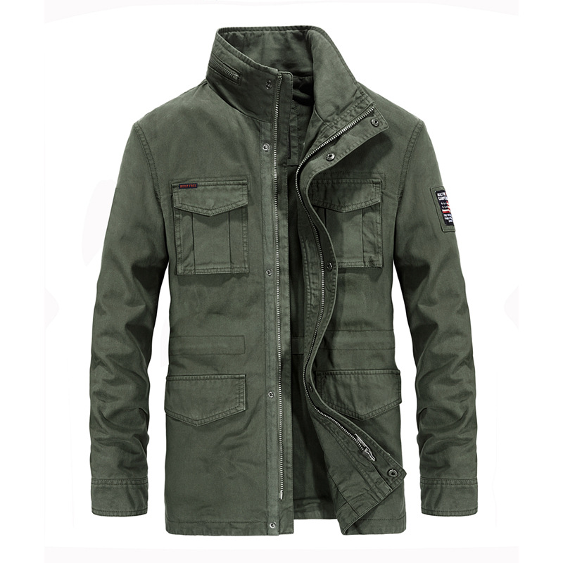 Men's Denim Long Stand Collar Multi-pocket Military Windbreaker Jacket