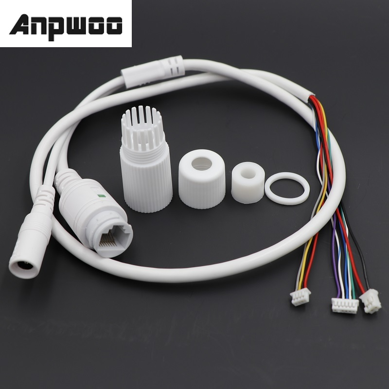 CCTV POE IP network Camera PCB Module video power cable Withe, 65cm long, RJ45 female connectors with Terminlas,waterproof cable