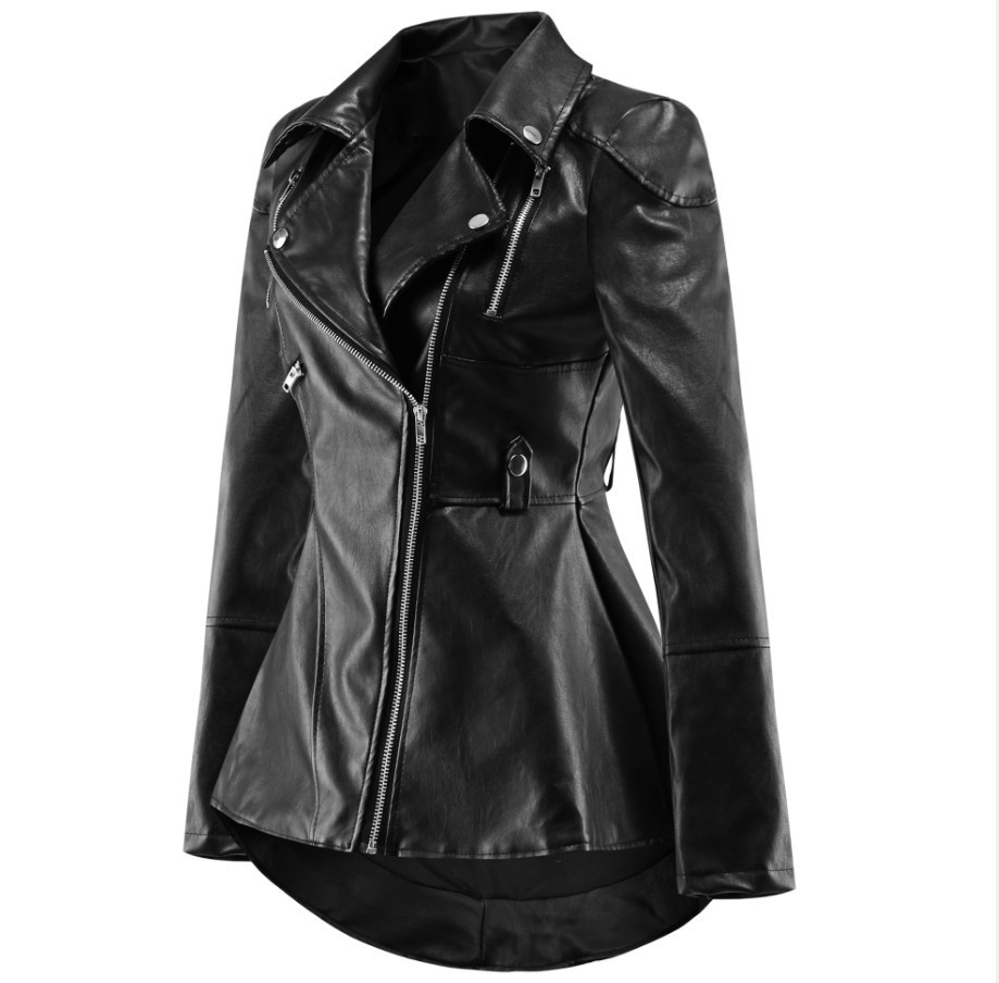 CHAMSGEND New Autumn Women Leather Duster Jacket Coat Frill Ruffle Zipper Belt Short Coat Female Punk Bomber Outwear 1003