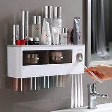 Strong Viscosity Toothbrush Holder Automatic Toothpaste Dispenser With Cup Wall Mount Storage Rack Bathroom Accessories G-BOOGE