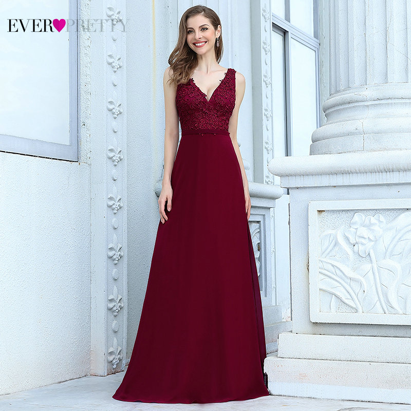 Evening Dresses Elegant A Line Deep V Neck Appliques Long Chiffon Formal Dress Ever Pretty Wedding Party Gowns Sukienki Wizytowe