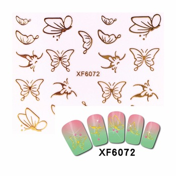 YZWLE 1 Sheet 3D Nail Stickers Beauty Hot Gold Butterfly Design Nail Art Charms Nails Bronzing Decals Decorations Tools 6072