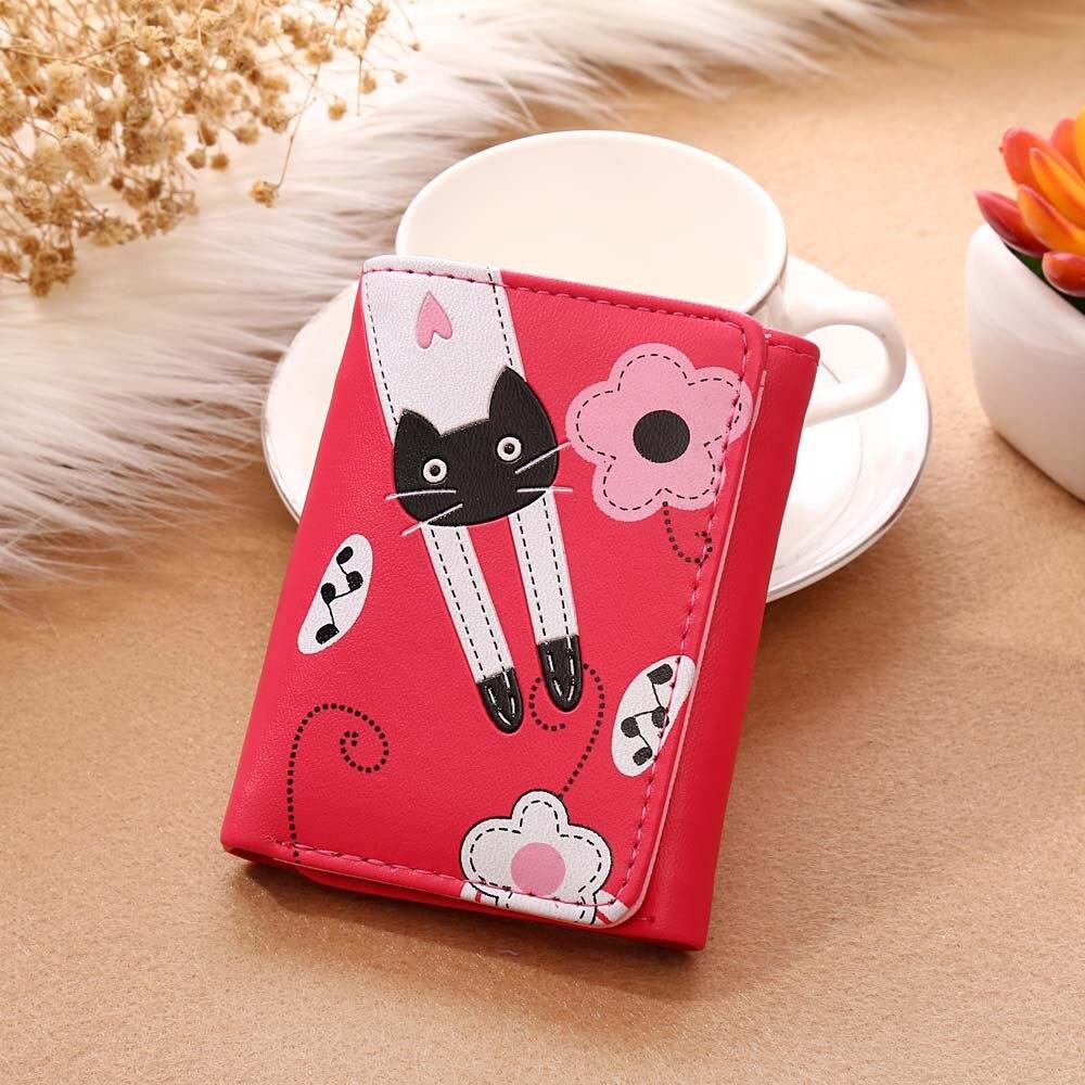 Fashion Charming Nice Women Short Wallet Cat Flowers Pattern Hasp Coin Purse Short Wallet Card Holders Handbag 815