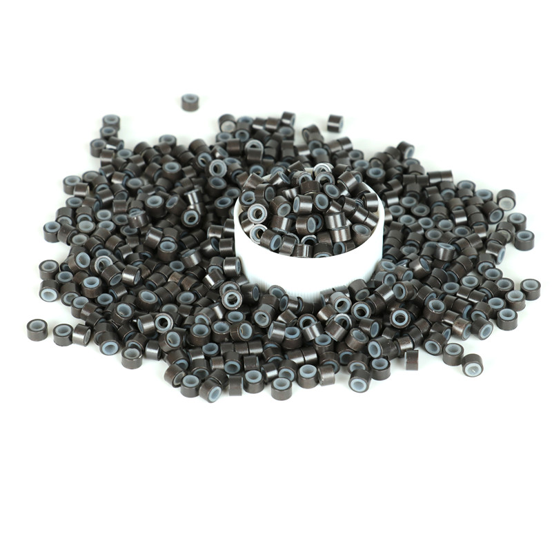 1000pcs SHUOHAN 5mm Silicone Micro Link Tube Ring for Wig Hair Extensions Lined Beads Salon Tools 6 Colors Beaded