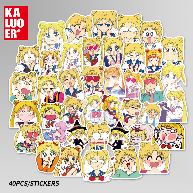 40 pcs/pack Kawaii Sailor Moon Cartoon  Adhesive Stickers DIY Decoration Diary Stationery Stickers Children Gift