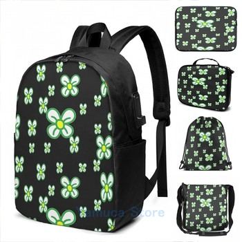 Funny Graphic print All-Over Daisy Pattern USB Charge Backpack men School bags Women bag Travel laptop bag