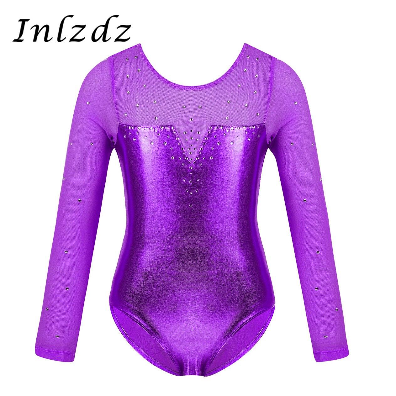 inlzdz Little Girls Long Sleeves Sparkle Gymnastic Athletic Leotard Dancing Ballet Leotard Dancewear Costumes