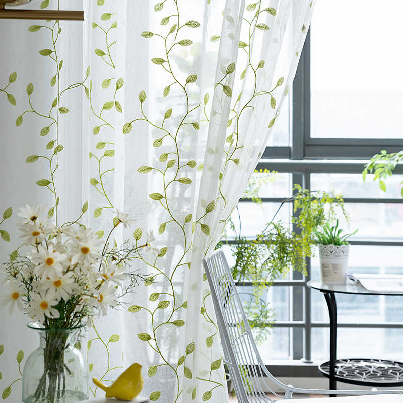 Embroidered Leaf Flower Tulle Curtain for Window Curtains for Living Room Modern Window Voile Gauze Curtains for Bedroom