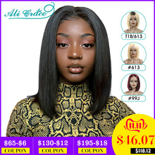 Wigs Human-Hair-Wig Blonde Ali-Grace Natural-Hairline Bob Lace Straight Women Brazilian