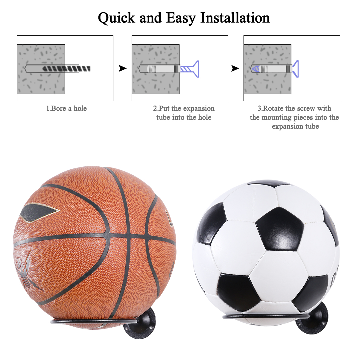 Silver TAZEMAT 2 PCS Ball Storage Rack Ball Holder Wall Mount Basketball Racks Football Display Rack for Soccer Volleyball Rugby Indoor Durable Gym Sports Ball Storage Holder