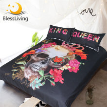 BlessLiving Crowned Floral Skull Duvet Cover With Pillowcases Sugar Skull King Queen Bedding Set for Couple Gothic Bed Set(China)