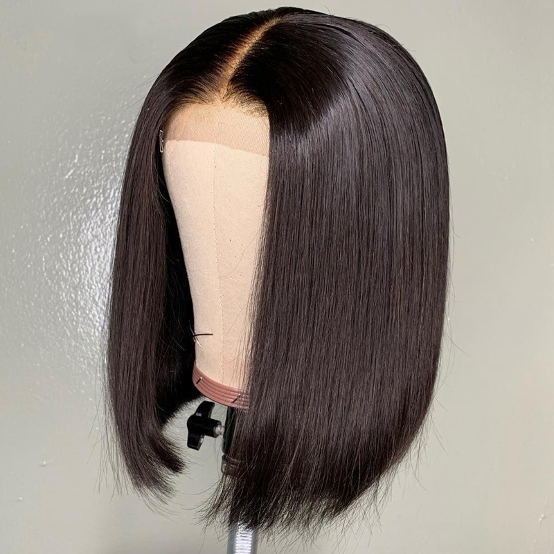 Short Black BOB Wig For Women Synthetic Lace Front Wig Black Straight Synthetic Hair Middle Part Heat Resistant Soft Lace Wigs