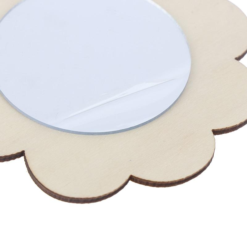18 Piezas Espejo de Molde de Madera Blanco Creativo de Bricolaje Espejo de Madera Artesanal de Juguetes Artesanal de Pintura Hecha a Mano