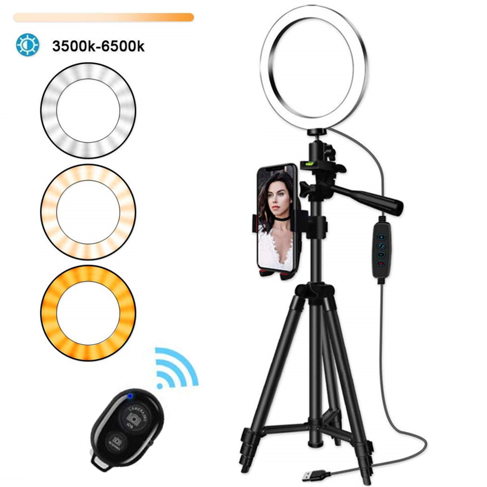 Ring-Light-Selfie Ring-Lamp Tripod-Ring Video-Photography-Lighting Youtube-Phone-Holder title=