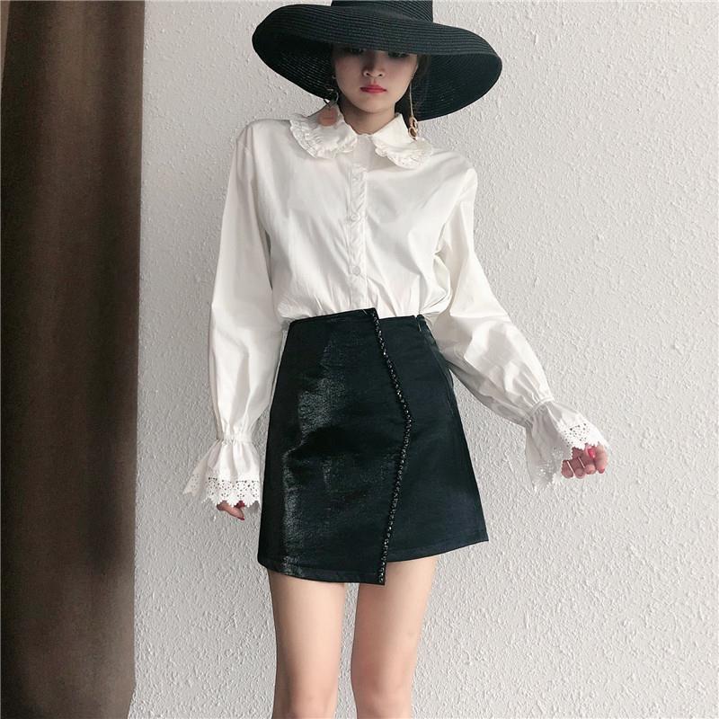 Women 2020 Summer Irregular High Waist Skirt New Female Fashion Short Slim Mini Skirt Ladies Elegant Beaded A-Line Skirts Y162