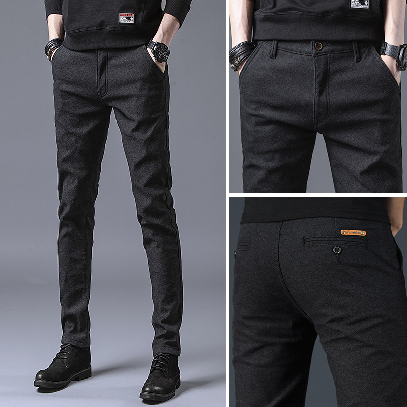 Casual Pants Trousers Slim-Fit Elastic Male Men's Fashion Brand New Business Multicolor title=