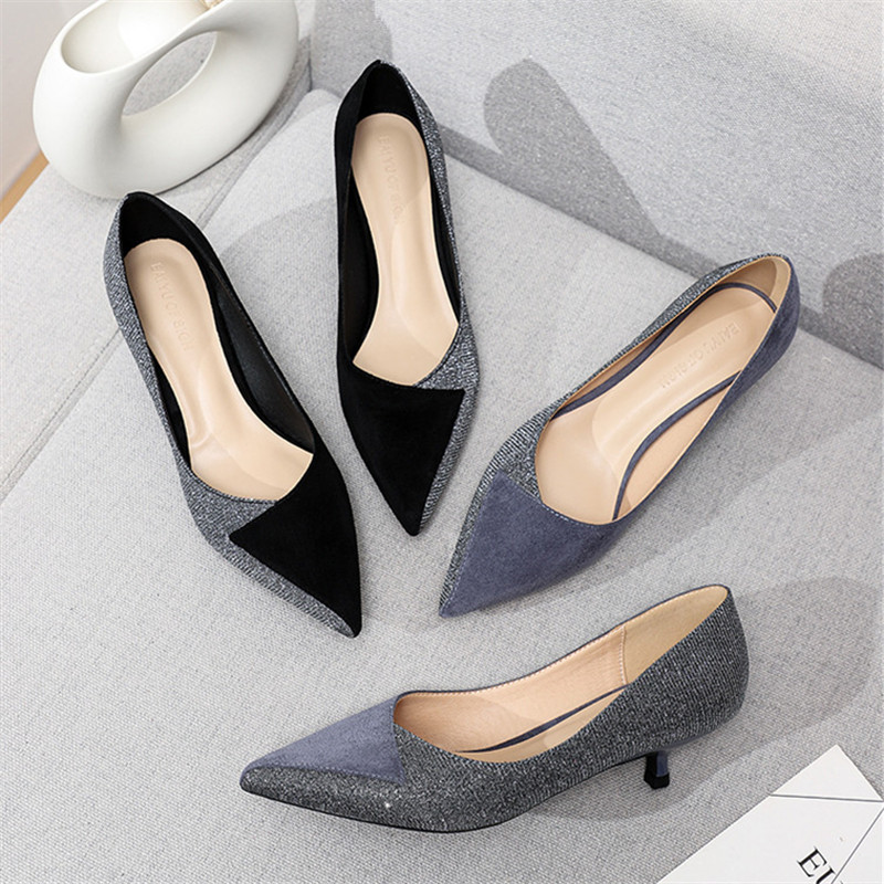 Shoes Woman Slip-On-Heels Crytal Sequined Office Career-Point-Toe Thin Plus-Size Lady title=