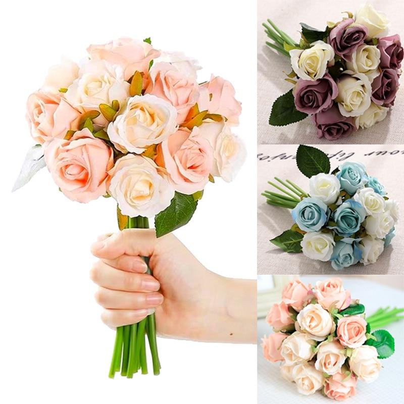 Artificial Rose Flowers Bouquet de roses artificielles Bride Bouquet Silk Flowers For Home Wedding Christmas Party Decoration