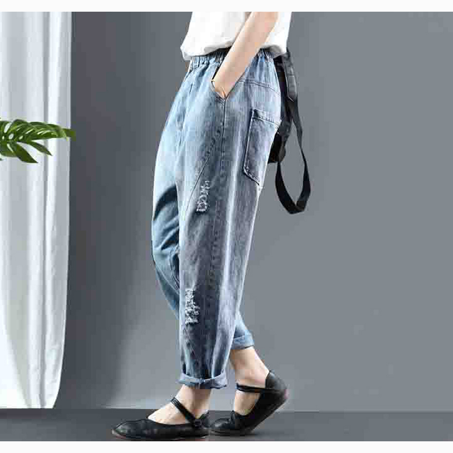 Women Jeans Denim Pants Patchwork Distressed Bleached Retro Vintage Fashion Casual Long Big Loose for Autumn Spring AZ26371326