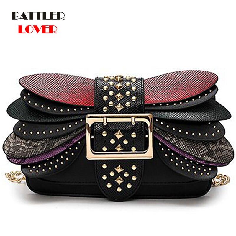 2019 Personality Rivets Dragonfly Wings Inclined Shoulder Bag Womens Fashion Color Chain Single Crossbody Bag Broadband handbag