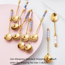 Dessert-Spoon Ceramic Long-Handle Stainless-Steel Kitchen Gold-Plated