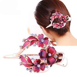 Haimeikang Женский Цветной Цветок полый зажим для волос сердце заколка аксессуары для волос женские модные стразы шпилька головной убор