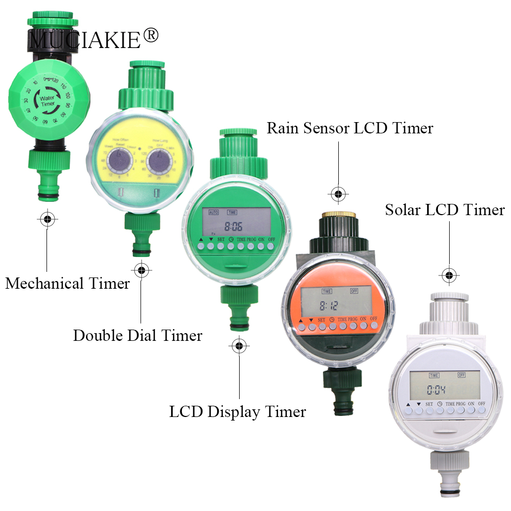 MUCIAKIE 5 Types of Garden Water Timer Rain Sensor Solar LCD Double Dial Controller Watering Irrigation 1/2'' 3/4'' Tap Joint title=