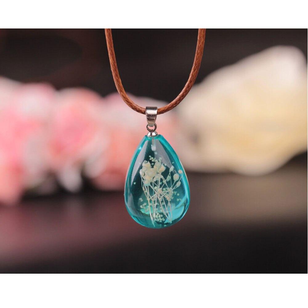 Fashion Ladies Charm Simple Retro Luminous Dried Flower Teardrop Pendant Choker Vintage Romantic Trendy Elegant Chain Jewelry