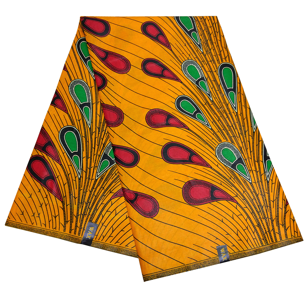 African Dashiki Wax Fabric Peacock Feather Print Orange Wac Fabric title=