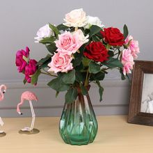 US $1.95  45%OFF | High Quality 2 Heads Velvet Rose Flowers Red Rose Branch Artificial Flowers For Wedding Home Decoration